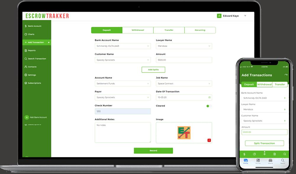 Trakker Add Transaction Multi-device screens